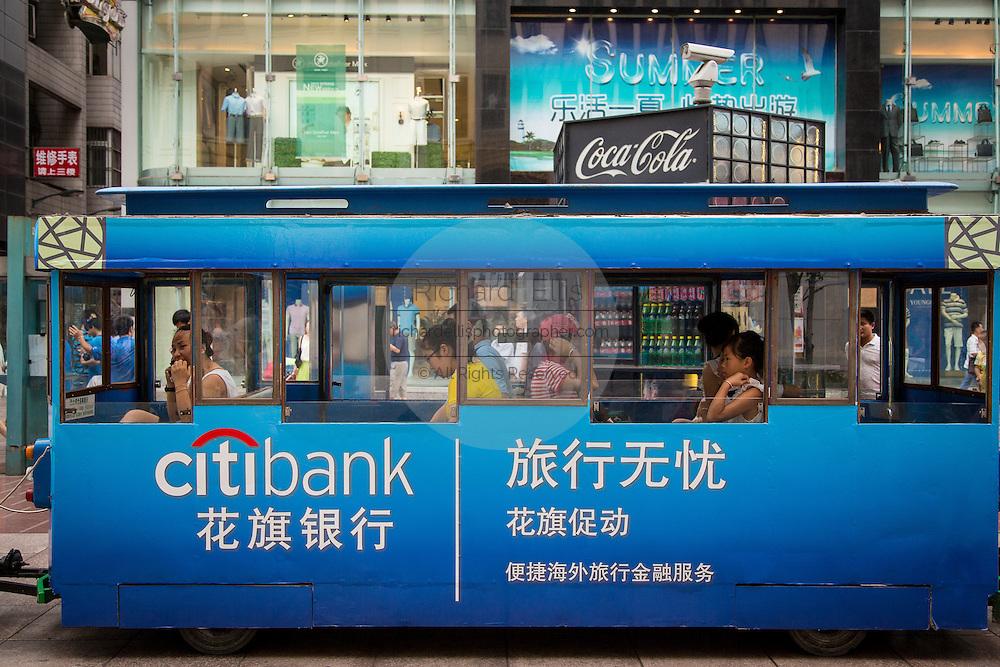 Tram on Nanjing East Road in Shanghai, China.