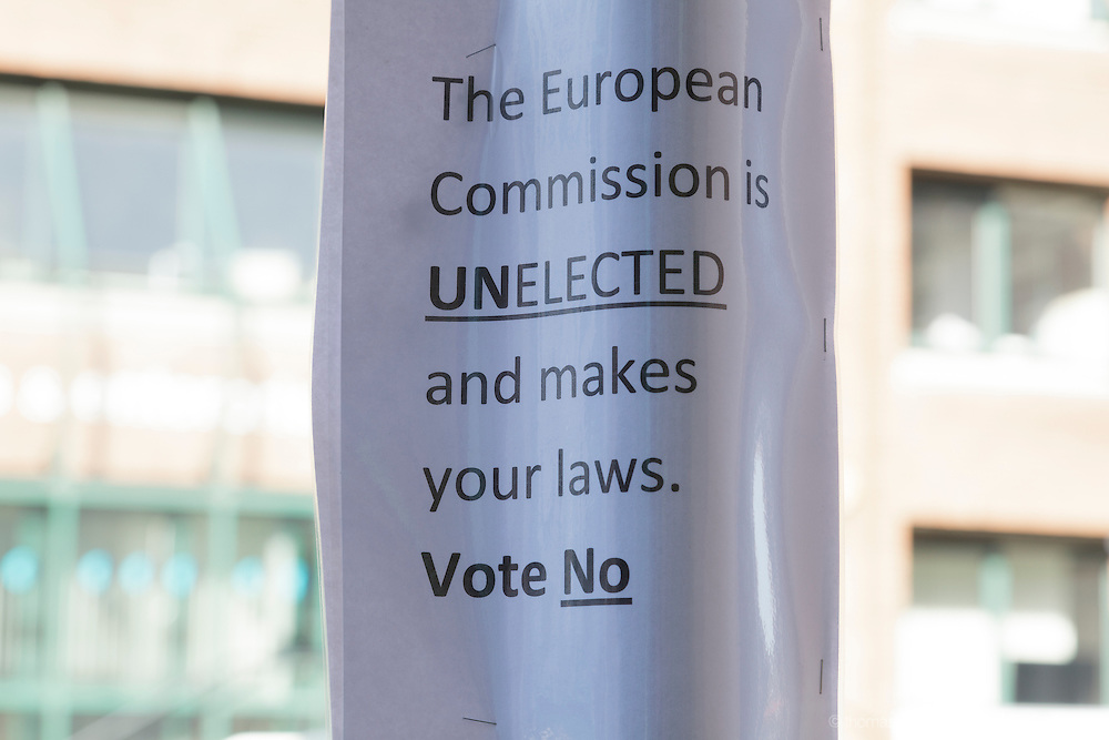 "A Home made poster in support of the No campaign for the referendum on the fiscal treaty in Irteland. The poster reads ""The European Commission is Unelected and makes your laws, Vote No"""