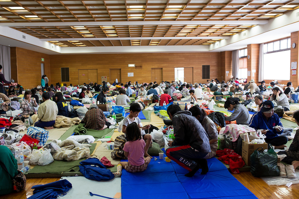 KUMAMOTO, JAPAN - APRIL 20: Evacuees is seen in the morning on Wednesday April 20, 2016 in Mashiki Gymnasium evacuation center, Kumamoto, Japan. As of April 45 people were confirmed dead after strong earthquakes rocked Kyushu Island of Japan. Nearly 11,000 people are reportedly evacuated after the tremors Thursday night at magnitude 6.5 and early Saturday morning at 7.3.<br /> <br /> Photo: Richard Atrero de Guzman