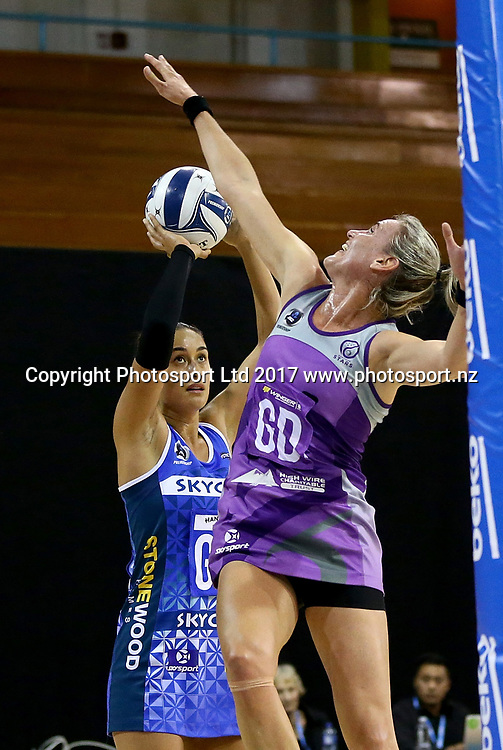 Captain Maria Tutaia of the Mystics is challenged by Captain Leana de Bruin of the Stars in the ANZ Premiership netball match between the Northern Stars and Skycity Mystics at ASB Kohimarama, Auckland, New Zealand,   Wednesday, May 17, 2017. Copyright photo: David Rowland / www.photosport.nz