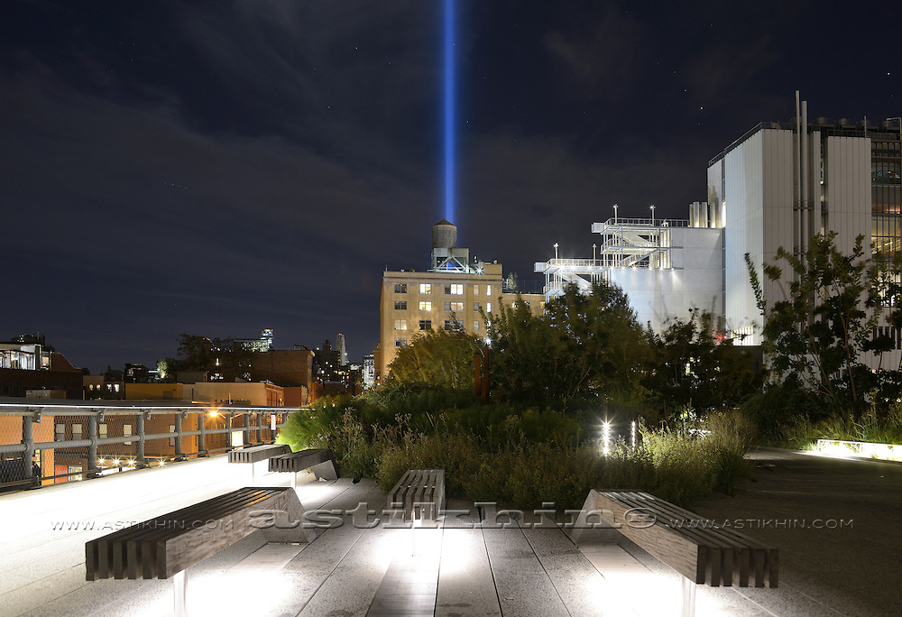 """""""Tribute in Light"""" from The High Line. NYC."""