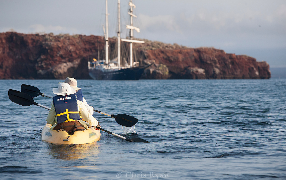 Kayakers returning to ship, Galapagos