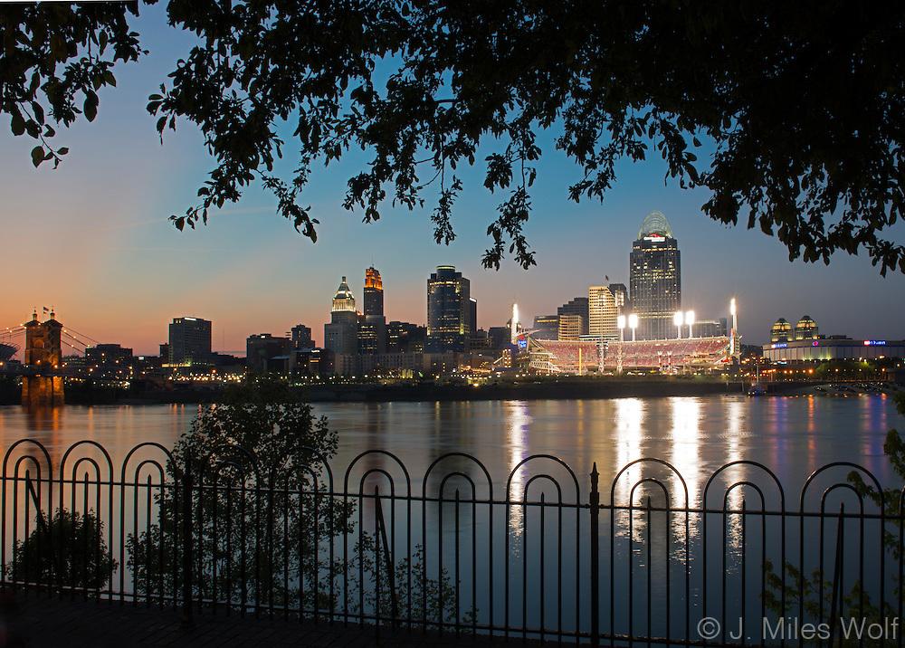 Cincinnati Skyline at Twilight taken from Covington, Kentucky