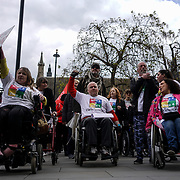 Disability rights activists gather outside Conservative Headquarters