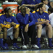 Delaware Forward Elena Delle Donne (Center) sits on the bench while suffering from a recurrence of Lyme disease during a Quarterfinals Women's National Invitation Tournament Sunday, Nov. 11, 2012 at the Bob Carpenter Center in Newark Delaware.