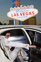 Elvis impersonator in limo in Las Vegas, Nevada, USA