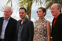Jean-Pierre Dardenne, Fabrizio Rongione, Marion Cotillard and Luc Dardenne at the photo call for the film Two Days, One Night (Deux Jours, Une Nuit) at the 67th Cannes Film Festival, Tuesday 20th May 2014, Cannes, France.