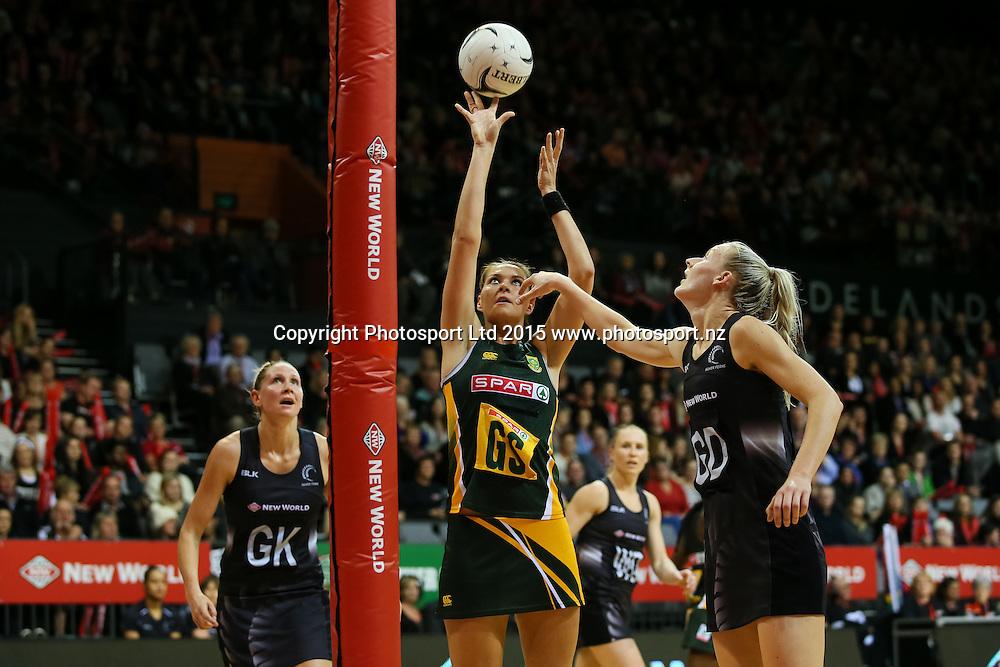 Spar Protea's Lenize Potgieter shoots during the international Netball match - Silver Ferns v South Africa at Claudelands Arena, Hamilton on Sunday 26 July 2015.  Copyright Photo:  Bruce Lim / www.photosport.nz
