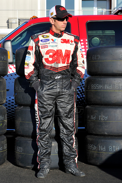 Brooklyn, MI  - Aug 18, 2012: Greg Biffle (16) in the garage during practice for the Pure Michigan 400 at Michigan International Speedway in Brooklyn, MI.