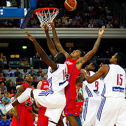 Eric Boateng (14) offensive rebound. GB men vs Puerto Rico basketball at the Copper Box Arena. 11/08/2013 (c) MATT BRISTOW