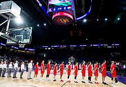 Players of Hungary listening to the National anthem during basketball match between National Teams of Serbia and Hungary at Day 11 in Round of 16 of the FIBA EuroBasket 2017 at Sinan Erdem Dome in Istanbul, Turkey on September 10, 2017. Photo by Vid Ponikvar / Sportida