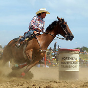 Tineka McDonald from Darfield in action during the Open Barrel Race at the Southland Rodeo, Invercargill,  New Zealand. 29th January 2012