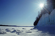 photos, pictures, images of lake superior ice, winter, frozen waterfalls, ice climbing