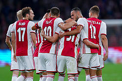 13-08-2019 NED: UEFA Champions League AFC Ajax - Paok Saloniki, Amsterdam<br />  Ajax won 3-2 and they will meet APOEL in the battle for a group stage spot / Nicolás Tagliafico #31 of Ajax scores 2-1, Daley Blind #17 of Ajax, Lisandro Martínez #21 of Ajax, Joël Veltman #3 of Ajax, Noussair Mazraoui #12 of Ajax, Dusan Tadic #10 of Ajax