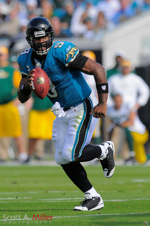Dec. 14, 2008; Orlando, FL, USA; Jacksonville Jaguars quarterback David Garrard (9) scrambles during the first half of the Jags game against the Green Bay Packers at Jacksonville Municipal Stadium. Mandatory Credit: Scott A. Miller-US PRESSWIRE...©2008 Scott A. Miller