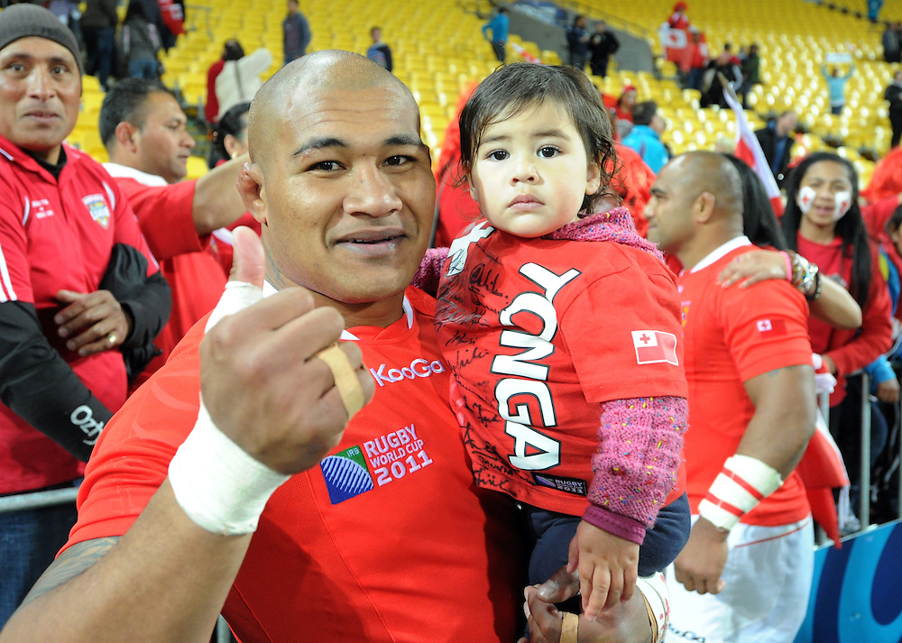 Tonga's Alisona Taumalolo after his teams win over France in the Rugby World Cup pool match at Wellington Stadium, Wellington, New Zealand, Saturday, October 01, 2011. Credit:SNPA / Ross Setford