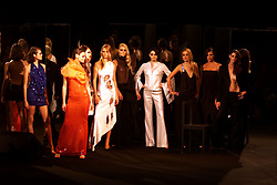 Models on catwalk for Roland Mouret Spring/Summer collection 2001 at London Fashion Week. September 29, 2000. Photo by Andrew Parsons / i-Images..