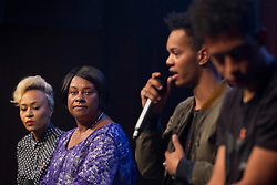 © Licensed to London News Pictures. 18/06/2013. London, UK. The mother of murdered teenager Stephen Lawrence, Doreen Lawrence (2L) is seen with singer Emeli Sande (L) and rappers Harley Alexander-Sule (2R) and Jordan Stephens (better known as the 'Rizzle Kicks') during a question and answer session held at a press conference for 'Unity - A Concert for Stephen Lawrence', in London today (18/06/2013). The concert will be held in aid of the Stephen Lawrence Charitable Trust, which helps young people from disadvantaged backgrounds, on the 29th of September 2013 at the O2 arena in Greenwich, London. Photo credit: Matt Cetti-Roberts/LNP