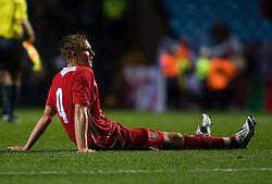 BIRMINGHAM, ENGLAND - Tuesday, October 14, 2008: Wales' Jack Collison dejected against England during the UEFA European Under-21 Championship Play-Off 2nd Leg match at Villa Park. (Photo by Chris Ratcliffe/Propaganda)