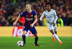 Andres Iniesta of Barcelona takes on Willian of Chelsea - Mandatory by-line: Matt McNulty/JMP - 14/03/2018 - FOOTBALL - Camp Nou - Barcelona, Catalonia - Barcelona v Chelsea - UEFA Champions League - Round of 16 Second Leg