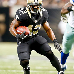 Nov 10, 2013; New Orleans, LA, USA; New Orleans Saints running back Darren Sproles (43) runs for a touchdown against the Dallas Cowboys during the first half of a game at Mercedes-Benz Superdome. Mandatory Credit: Derick E. Hingle-USA TODAY Sports