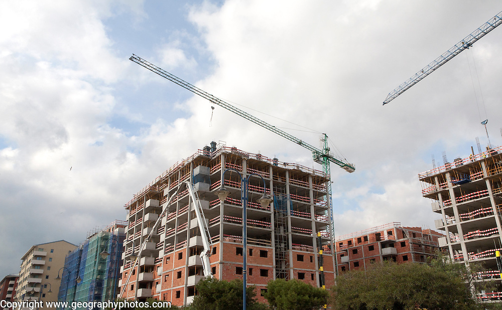 Construction of high rise apartment block housing in Gibraltar, British overseas territory in southern Europe