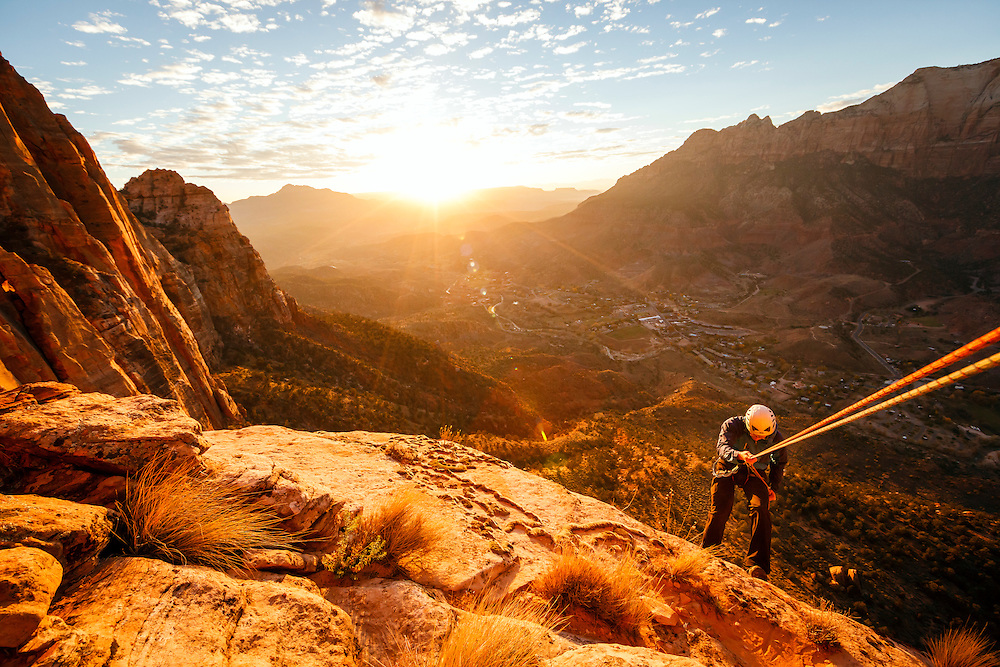 Charlie Thomas descends the Watchman in the setting sun, Zion National Park, Utah.