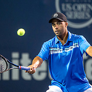 August 25, 2016, New Haven, Connecticut: <br /> James Blake in action during the Men's Legends Event on Day 7 of the 2016 Connecticut Open at the Yale University Tennis Center on Thursday, August  25, 2016 in New Haven, Connecticut. <br /> (Photo by Billie Weiss/Connecticut Open)