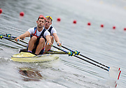 "Glasgow, Scotland, ""2nd August 2018"", GBR M2X, <br /> Bow, Harry LEASK, and  Jack BEAUMONT move away from the start,in the""Men's Double Sculls"", European Games, Rowing, Strathclyde Park, North Lanarkshire, © Peter SPURRIER/Alamy Live News"