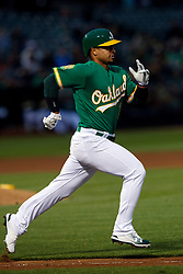 OAKLAND, CA - MAY 25:  Franklin Barreto #1 of the Oakland Athletics runs to first base after an at bat against the Arizona Diamondbacks during the fifth inning at the Oakland Coliseum on May 25, 2018 in Oakland, California. The Arizona Diamondbacks defeated the Oakland Athletics 7-1. (Photo by Jason O. Watson/Getty Images) *** Local Caption *** Franklin Barreto