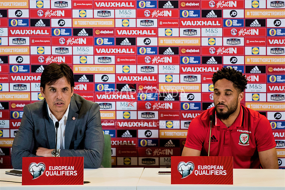 DUBLIN, REPUBLIC OF IRELAND - Thursday, March 23, 2017: Wales' manager Chris Coleman and captain Ashley Williams during a press conference at the Aviva Stadium (Lansdowne Road) ahead of the 2018 FIFA World Cup Qualifying Group D match against Republic of Ireland. (Pic by Paul Greenwood/Propaganda)