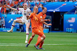 07-07-2019 FRA: Final USA - Netherlands, Lyon<br /> FIFA Women's World Cup France final match between United States of America and Netherlands at Parc Olympique Lyonnais. USA won 2-0 / Rose Lavelle #16 of the United States score 2-0, Stefanie van der Gragt #3 of the Netherlands, Anouk Dekker #6 of the Netherlands