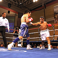 "Former WBO World champion Alex ""El Nene"" Sanchez (White Trunks) of Ponce, Puerto Rico fights with Glen Donaire (Blue Trunks) of the Philippines in a bout scheduled for 12 Rounds with the WBC Latin Flyweight Title on the line at the Kissimmee Civic Center in Kissimmee, Florida, on Friday, Dec 9, 2011.  Donaire won the bout when Sanchez injured his left wrist and failed to come out in the ninth round. (AP Photo/Alex Menendez)"