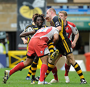 Wycombe, GREAT BRITAIN, Wasps', Paul SACKEY, up ended by Nick WOOD,, during the Guinness Premiership game, London Wasps vs Gloucester Rugby, Sun. 04.05.2008 [Mandatory Credit Peter Spurrier/Intersport Images]