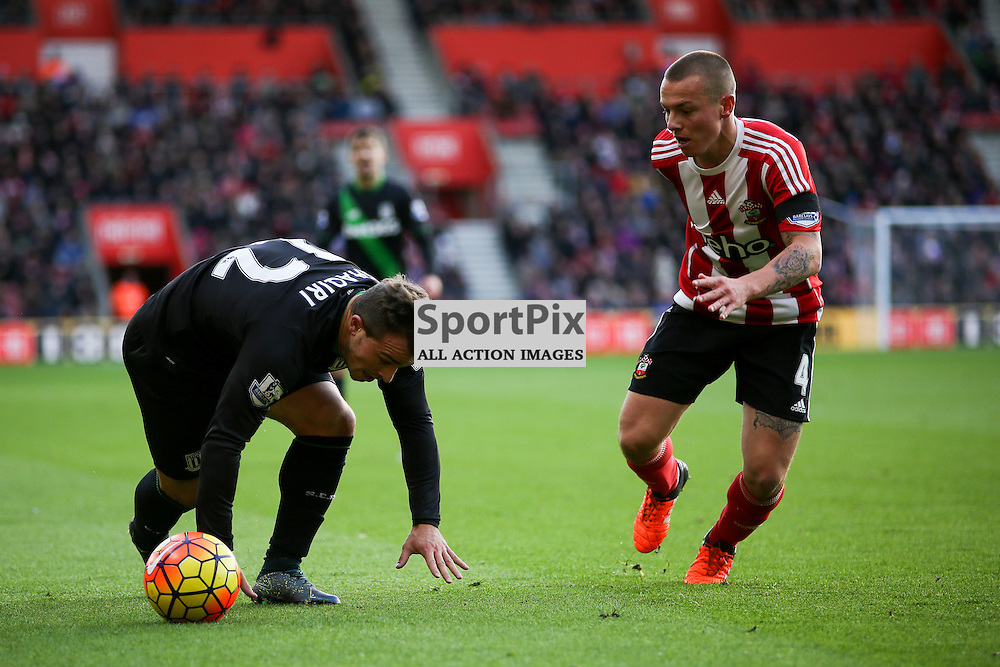 Xherdan Shaqiri skips away from  Jordy Clasie During Southampton vs Stoke City on Saturday the 21st November 2015.