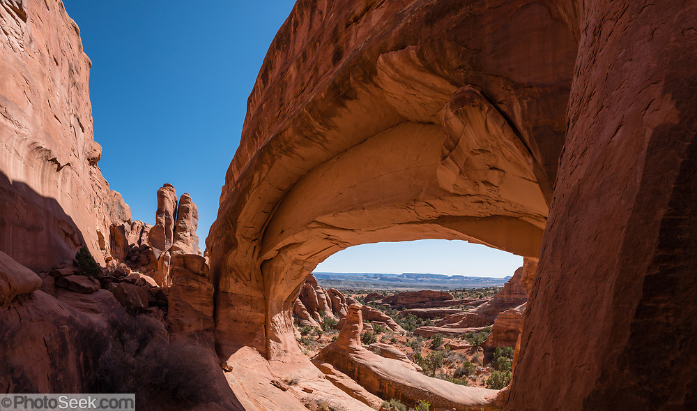 Tower Arch, in Klondike Bluffs, in Arches National Park, Moab, Utah, USA. This image was stitched from multiple overlapping photos.