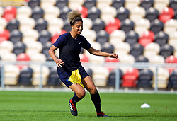 NEWPORT, WALES - Thursday, August 30, 2018: England's Gabrielle George (left) during a training session at Rodney Parade ahead of the final FIFA Women's World Cup 2019 Qualifying Round Group 1 match between Wales and England. (Pic by David Rawcliffe/Propaganda)
