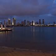 San Diego skyline view at night  from Coronado.
