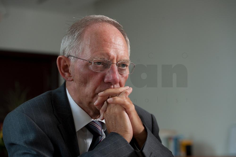 19 AUG 2010, BERLIN/GERMANY:<br /> Wolfgang Schaeuble, CDU, Bundesfinanzminister, waehrend einem Interview, in seinem Buero, Bundesministerium der Finanzen<br /> IMAGE: 20100819-01-053<br /> KEYWORDS: Wolfgang Schäuble