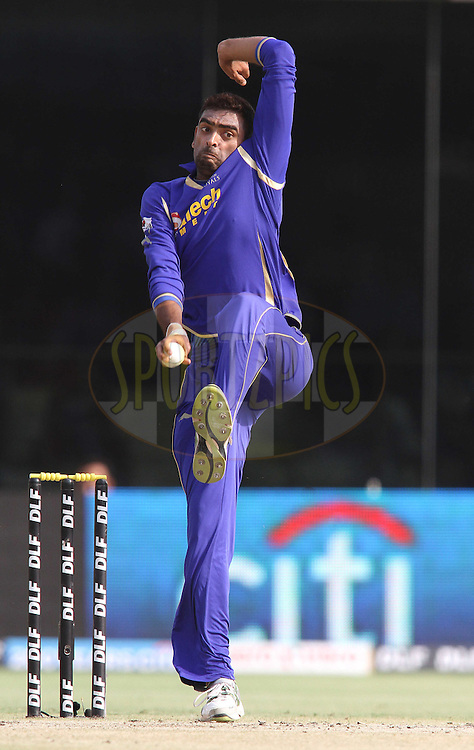 Amit Singh of the Rajasthan Royals sends down a delivery during match 39 of the the Indian Premier League (IPL) 2012  between The Delhi Daredevils and the Rajasthan Royals held at the Feroz Shah Kotla, Delhi on the 29th April 2012..Photo by Shaun Roy/IPL/SPORTZPICS