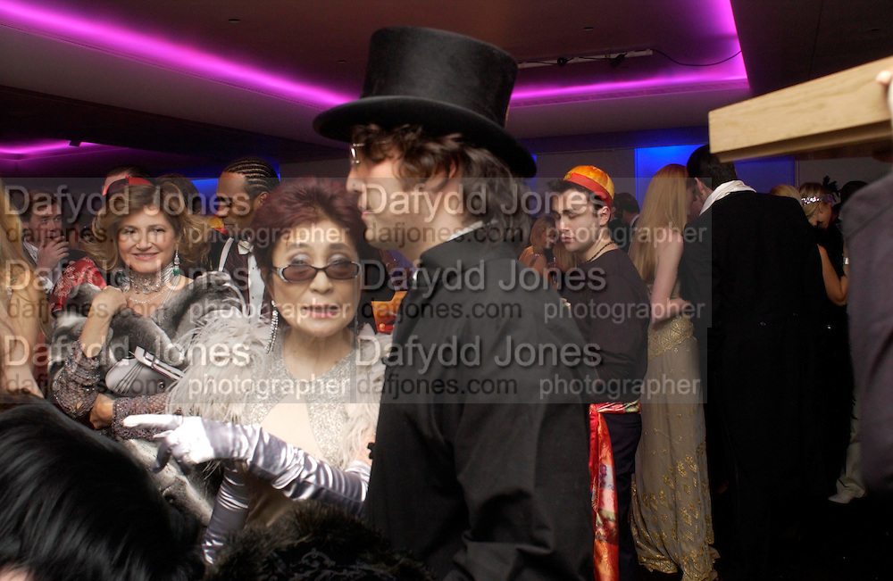 Dorit MOUSSAIEFF, Yoko Ono and Sean Lennon.. Andy & Patti Wong's Chinese New Year party to celebrate the year of the Rooster held at the Great Eastern Hotel, Liverpool Street, London.29th January 2005. The theme was a night of hedonism in 1920's Shanghai. . ONE TIME USE ONLY - DO NOT ARCHIVE  © Copyright Photograph by Dafydd Jones 66 Stockwell Park Rd. London SW9 0DA Tel 020 7733 0108 www.dafjones.com