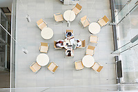 High angle view of businesswomen working in office canteen