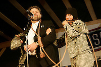 Al Franken as a condemned Saddam Hussein with US Military MPs during a USO routine in Baghram, Afghanistan senator al franken
