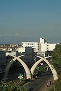 Africa. Kenya. Mombasa Moi Avenue..Giant elephant tusk monument..CD0012