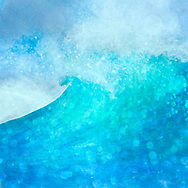 Painterly rendition of a breaking wave in vivid turquoise blue hues