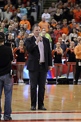 21 March 2015:  Jim Cornelison sings the national anthem before the IHSA Boys Class 4A State Championship game between the Patriots of Lincolnshire Stevenson and the Ironman of Normal Community in at the Carver Center inside the Peoria Civic Center in Peoria Illinois