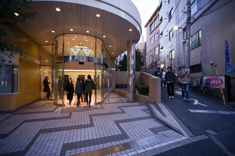 Waseda  University - students Leaving Waseda International center building 22.