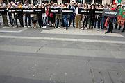 Hebrew parents of survived or survived hold placards with the name of Nazism death camps at demonstration of Liberation day in Milan, April 25, 2011. © Carlo Cerchioli..Ebrei parenti di sopravissuti o sopravissuti con i cartelli con i nomi dei campi di sterminio nazisti  alla manifestazione per la Liberazione, Milano 25 aprile 2011.