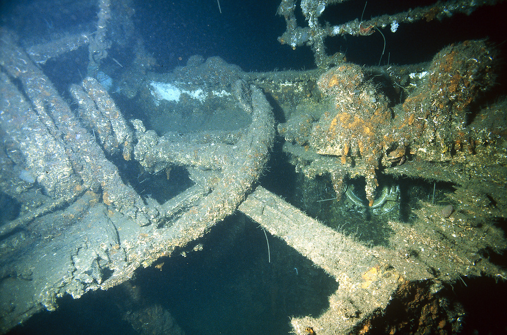 Starboard anchor on the wreck of the old steamboat D/S Sandeid.   Location: Norway