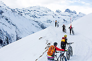 Pushing is all part of it during stage 2 and 3 of the first Snow Epic, the ascent and decent of Brunni Hütte near Engelberg, in the heart of the Swiss Alps, Switzerland on the 16th January 2015<br /> <br /> Photo by:  Nick Muzik / Snow Epic / SPORTZPICS